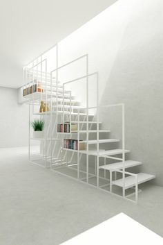 Designed by Amir Zinaburg, the metal Square Staircase owns an elaborate design with a clever storage system. Produced by the manufacture Design and Weld Limited,. Modern Staircase, Staircase Design, Stair Design, Staircase Ideas, Stairs Architecture, Interior Architecture, Interior Stairs, Interior And Exterior, Modern Exterior