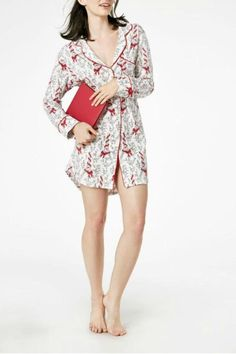 Black and white Paris nightshirt with red ribbons and bows.   Paris Bows Pjs by Bedhead Pajamas. Clothing - Lingerie & Sleepwear - Sleepwear Cincinnati, Ohio