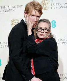 Domnhall Gleeson and Carrie Fisher BAFTA 2016