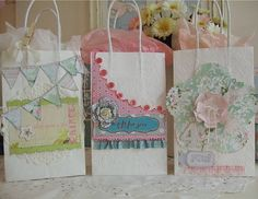 DIY MOTHERS DAY PAPER BAGS IMAGES | Before decorating the gift bags I embossed them with different designs ...