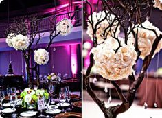 love the rustic branches with the flowers and crystals.
