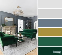 Emerald Green + Blue Grey - The Best Living Room Color Schemes - Ann-Kathrin Fischer - Emerald Green + Blue Grey - The Best Living Room Color Schemes Emerald Green + Blue Gr Blue And Green Living Room, Good Living Room Colors, Living Room Color Schemes, Living Room Designs, Color Schemes For Office, Dark Green Rooms, Green Color Schemes, Emerald Green Bedrooms, Bedroom Green