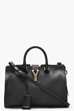 Saint Laurent Black Leather And Gold Logo Macho Tote for women Yves Saint Laurent, Ysl Bag, Designer Shoulder Bags, Designer Totes, Gold Logo, Womens Purses, Fashion Lookbook, Women's Fashion, My Bags