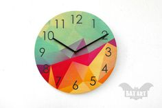 BAT Wall Clock 28cm abstract with numbers  Black metal by BatLab