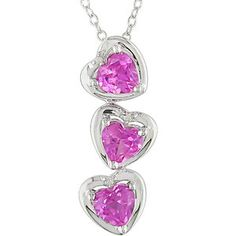 1-1/2 Carat T.G.W. Created Pink Sapphire and Diamond Accent Heart Sterling Silver Pendant, 18""