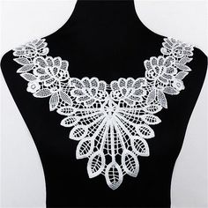 1pc 100% Polyester Black Big Flower Necklace Lace Collar Fabric Trim DIY Embroidery Lace Fabric Neckline Applique Sewing Craft