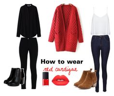 """""""How to wear a red cardigan"""" by jorgelina-palacios on Polyvore featuring moda, Alice + Olivia, J Brand, STELLA McCARTNEY, Uniqlo, NARS Cosmetics, Lime Crime, outfit, ootd y OOTW"""