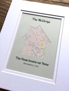 Housewarming Gift – This House Became Our Home -Personalized Map Housewarming Gift- Christmas Gift For a Family – First Home Gift – Gift for - DIY Gifts Simple Ideen First Home Gifts, New Home Gifts, Handmade Home Decor, Unique Home Decor, Handmade Items, Wedding Vow Art, Wedding Ceremony, Wedding Cars, Gift Wedding