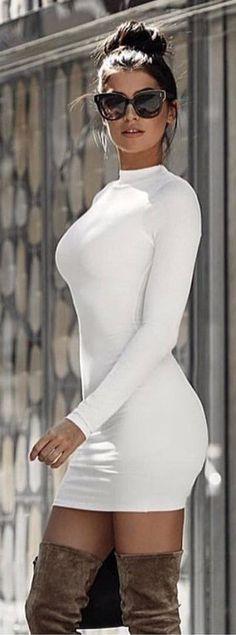 White turtleneck dress with OTK boots!!