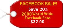 2,000 Worldwide Untargeted  Facebook Likes $32.00