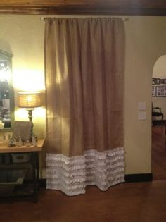 Burlap Curtain D Panel With 6 Muslin Ruffles 4 Inch Rod Pocket Up To 110 Inches