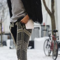 "Jay Strut's outfit: ""I love taking these luxurious runway pants and wearing them so casually."" #pants #streetstyle"