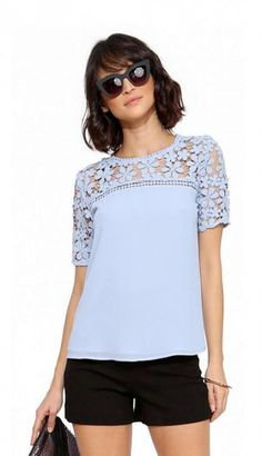 Crochet Dreams Top in Light blue Blouse Styles, Blouse Designs, Lace Tops, Floral Tops, Casual Outfits, Fashion Outfits, Womens Fashion, Trendy Fashion, Vetement Fashion