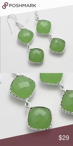 Chalcedony earrings gorgeous green faceted Gorgeous handmade earrings set in silver plated rhodium. Simplicity and beautiful natural stones make these the perfect gift for anyone! Lightweight as well fruitfulsouls designs Jewelry Earrings