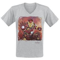 """#TShirt uomo grigia """"Age Of Ultron - Iron Man Art"""" degli #Avengers con scollo a V e ampia stampa frontale."""