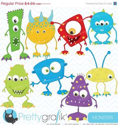 80 OFF SALE monster clipart commercial use by Prettygrafikdesign, $0.99