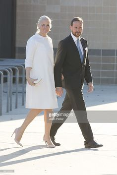 Crown Prince Haakon of Norway (R) and Mette-Marit, Crown Princess of Norway attend the OTC dinner at Reliant Stadium, during day one of their five day offficial visit to the USA, on May 5, 2013 in Houston, United States. The visit by TRH aims to promote Norwegian innovation and to celebrate 40 years of Norwegian participation at the annual Offshore Technology Conference.