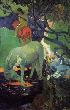 The White Horse, 1898 by Paul Gauguin, 2nd Tahiti period. Post-Impressionism. animal painting. Musée d'Orsay, Paris, France