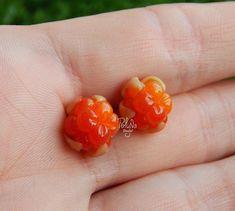 Miniature cloudberry earrings - tiny studs - orange earrings - orange berries - summer earrings - eco  rustic wedding - woodland earrings