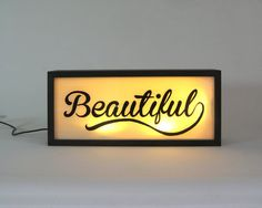 """Hand Painted Signs """"Beautiful"""" Vintage Wooden Light Box / Illuminated Sign / Industrial Rustic / Reclaimed Plastic / Home Cafe Decor by Bingkai on Etsy Rustic Signs, Wooden Signs, Neon Lighting, Strip Lighting, Vintage Signs For Sale, 12v Led Strip Lights, Neon Box, Illuminated Signs, Natural Interior"""