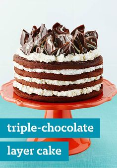Triple-Chocolate Layer Cake – Coffee, cream cheese, and pudding add extraordinary flavor and a creamy texture to this luscious Triple-Chocolate Layer Cake.