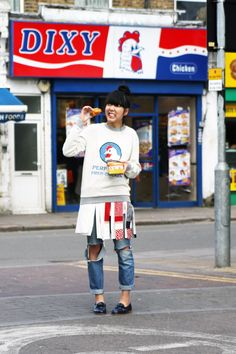 Susie Lau Style Bubble Kit Neale Perfectly Fried Chicken sweatshirt Sacai skirt J Brand jeans and Purified shoes #streetstyle