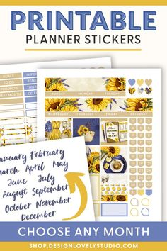 Erin Condren Life Planner, Monthly Planner, Planner Layout, Summer Planner, Happy Planner, Printable Planner Stickers, Printables, Pdf, Studio