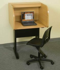 """Privacy Study Carrel . $379.00. * Built-in electrical assembly, with two outlets, two jacks, and two USB ports, making this unit even more computer friendly! * The assembly includes a hinged metal cover to hide the assembly when not in use * Panels are constructed from 1"""" thick particle board bonded to high-pressure laminate to stand up to heavy-duty use * Work surface features a grommet for cable management, and measures 29-1/2""""W x 23-1/2""""D with a 29-1/2""""W x ..."""