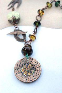 Mixed media necklace, autumn necklace by esferajewelry on Etsy, $60.00, #autumn #esfera #bronze