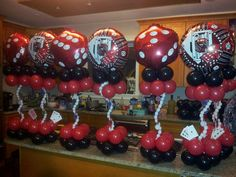 Casino themed balloon centerpieces by Rosielloons. Like on facebook