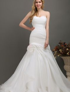 ❀ Pleated Ruched Bandeau Organza Wedding Dresses Sweetheart Sleeveless Floor-Length With Chapel Train   Riccol ❤