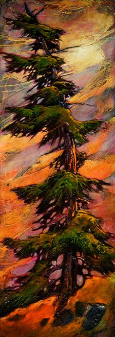 There For You, by David Langevin ~This is stunning! I love this piece so much! Abstract Nature, Abstract Landscape, Landscape Paintings, Tree Watercolor Painting, Nature Drawing, Acrylic Art, Acrylic Paintings, Art Graphique, Tree Art