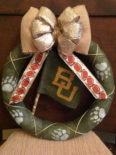 Baylor Bear Football Flag Wreath on Etsy, $30.00