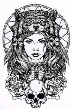 A black and white temporary tattoo of a girl and her totem animal wolf headdress. - A black and white temporary tattoo of a girl and her totem animal wolf headdress. this would be gr - Wolf Tattoos For Women, Tattoos For Women Half Sleeve, Female Leg Tattoos, Native American Tattoos, Native Tattoos, Arm Sleeve Tattoos, Leg Tattoo Men, Tattoo Girls, Girl Thigh Tattoos
