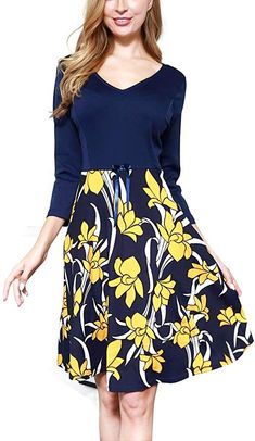 Women's Vintage Patchwork V-Neck Floral Flared A-Line Swing Casual Work Dress / Vintage Christmas Dress. Women›Clothing›Dresses. Buy products related to vintage christmas dress, 1950 christmas dress, vintage christmas fashion, dress christmas outfit and christmas dress. #Affiliate #Dresses #vintagechristmasdress #VintageChristmasDress #vintagedress #dresschristmasoutfit Vintage Christmas Dress, Dress Vintage, Vintage Ladies, Casual Work Dresses, Work Casual, Dresses For Work, Chic Outfits, Dress Outfits, Fashion Dresses