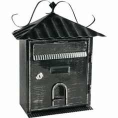Vintage Powder Coated Wall Mounted Mailboxes Wrought Iron Black Letterbox