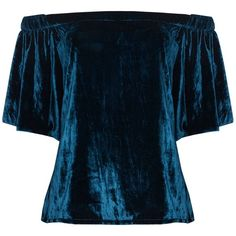 Jelena Bin Drai - Rhea Velvet Off Shoulder Top (1,875 GTQ) ❤ liked on Polyvore featuring tops, blouses, blue top, sleeve top, blue blouse, sleeve blouse and velvet top