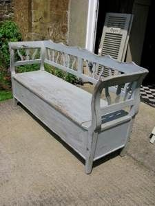 Beautiful Hungarian Antique Painted Bench With Storage