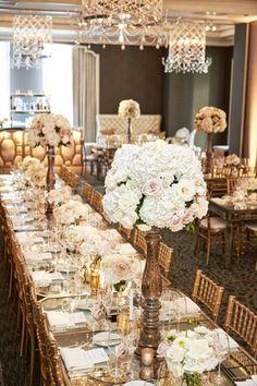 Elegant Long Reception Tablescape     Photography: KingenSmith. Read More:  http://www.insideweddings.com/weddings/catholic-ceremony-soft-romantic-fairy-tale-reception-in-chicago/754/