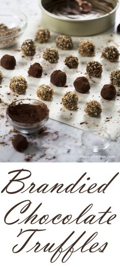 Delicious no bake chocolate truffles with a hint of brandy, rolled in toasted coconut, Cocoa powder and toasted pecans. via @preppykitchen