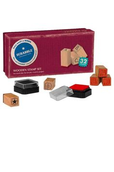 Wooden Stamp Set. Full alphabet, extra bonus tiles (32 tiles in total) & two ink pads (black & red). In a fun vintage-look box. Scrabble Stamp Kit by Wild & Wolf. Home & Gifts - Gifts - Stationery & Office Canada