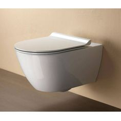 GSI Pura 50 Wall Hung Toilet with Slim Soft Close Seat. This is our new bathrooom toilet Cheap Bathroom Suites, Pool Bathroom, Downstairs Bathroom, Master Bathroom, Contemporary Bathrooms, Modern Bathroom, Small Bathroom, Floating Toilet, Concealed Cistern