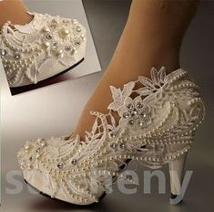"""4 """" heel white ivory lace crystal pearls Wedding shoes pumps bride size in Clothing, Shoes & Accessories, Wedding & Formal Occasion, Bridal Shoes Cowgirl Wedding, Wedding Shoes Bride, Wedding Boots, Lace Bride, Bride Shoes, Prom Shoes, Wedding White, Buy Shoes, Rustic Wedding"""