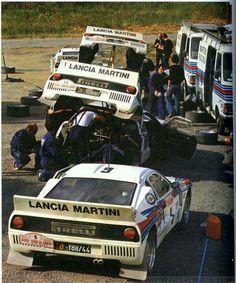 Martini Racing Team with Lancia 037 at Tour de Corse in 1983 Martini Racing, Classic Sports Cars, Classic Cars, Sport Cars, Race Cars, Nissan Gtr R34, Gilles Villeneuve, Lancia Delta, Motosport