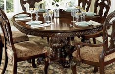 Round Cherry Dining Table He - Dingar Round Extendable Dining Table, Round Wooden Dining Table, Dining Table With Leaf, Round Pedestal Dining Table, Luxury Dining Tables, Luxury Dining Room, Dining Table In Kitchen, Kitchen Chairs, Wood Table