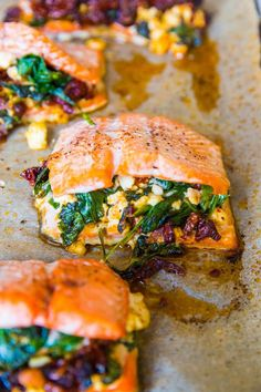 Mediterranean Stuffed Salmon with feta, sun-dried tomatoes, and spinach. This quick and easy healthy dinner recipe only requires 4 ingredients. Salmon Dishes, Seafood Dishes, Seafood Recipes, Salmon Meals, Fish Recipes, Easy Healthy Dinners, Healthy Dinner Recipes, Cooking Recipes, Keto Recipes