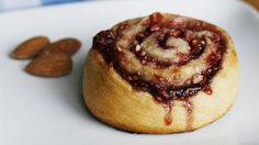 Berry Almond Pinwheels...  1 can (8 oz) Pillsbury™ Crescent Recipe Creations® Refrigerated Flaky Dough Sheet,  1/3 c. Raspberry Preserves,  1/3 c. crushed Dry-Roasted Almonds... Preheat 375°F. Unroll dough on work surface. Spread with preserves. Sprinkle evenly with nuts. Roll dough back up. Cut into 8 equal slices. Place cut side down on nonstick cookie sheet. Bake 12-16 min until golden and puffed. Cool 10 min. Serve. (Try fave preserves, apple butter, or minced dried cranberries and walnuts.)