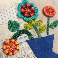 """489 Likes, 11 Comments - Sue Spargo (@suespargo) on Instagram: """"Dorset buttons, knitted and crocheted leaves and cast on bullion knots. #suespargo…"""""""