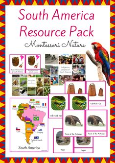 South America Resource Pack is a great addition to the Continent Boxes in the Montessori Classroom. It contains:   *6 Introduction to South America Picture Cards *Flag Matching Printable + Control Cards Printable *Outline and Country Map of South America *Insects / Birds / Mammals of South America Sorting Activity Printable with Control Card *Parts of the Anteater 3-Part Cards *Musical Instruments of South America 3-Part Cards *Animals of South America 3-Part Cards