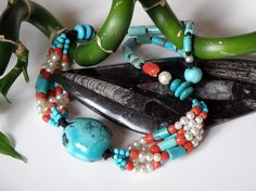 Tibetian Turquoise gemstone necklace with by DancingLotusDesigns